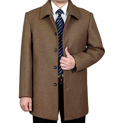 Loune Week Mens Mid-Long Business Trench Coat Solid Color Casual Woolen Coat Black L