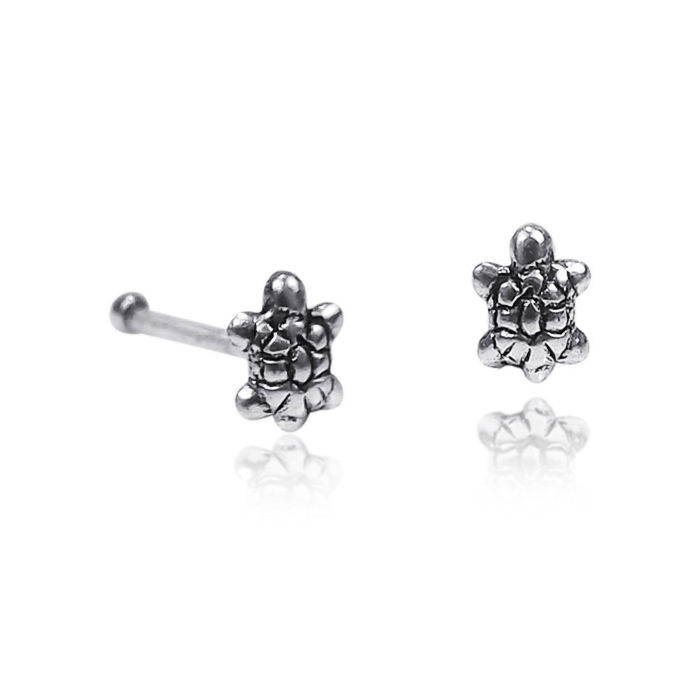 A Pair of Adorable Turtles Oxidized .925 Sterling Silver Nose Ring