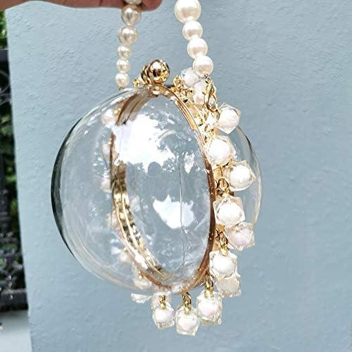 Mdsfe Borsa da Sera Circolare Trasparente con Perline Donna 2020 Estate Diamanti Borsa Frizione Pochette Donna Chic Piccola Rotonda Borsa da Festa - Modello A Rosa