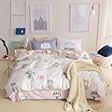 LELVA Cute Elephant Bedding Set 3 Piece Baby Bedding Cotton Duvet Cover Set Kids Bedding for Boys and Girls (Twin, Flat Sheet Set)