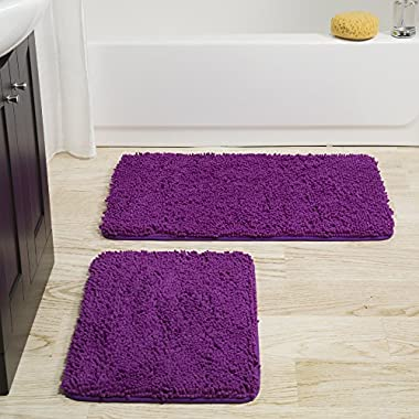 Bedford Home 2 Piece Memory Foam Shag Bath Mat-Purple