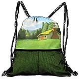 Sport Drawstring Backpack Sport Gym Bag Beatybag,Green House GymSack Shoulder Printing Gymsack Unisex Bundle backpack