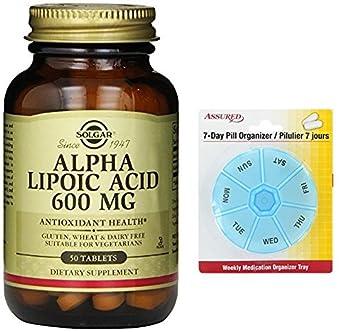 Solgar, ácido alfa lipoico, 600 mg, 50 tabletas con gratis 7 días plástico