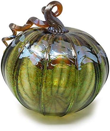 Luke Adams Glass 8 Large Glass Pumpkin Handmade Table Top Home D cor Outdoor Collectible Sculpture Autumn Green Gold
