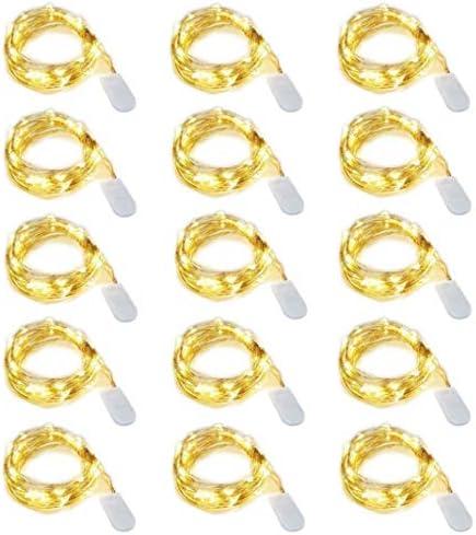 15 pezzi Dioxide 20 LED 2M Mini Lampada a fili di rame Bianco Caldo, Luci stringa LED Luci d'atmosfera Bottiglia di vino per bottiglie Fai da te, feste