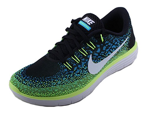newest collection 057de 339d3 NIKE FREE RN DISTANCE RUNNING SHOES BLACK WHITE BLUE LAGOON VOLT SIZE 11