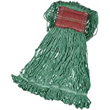 AmazonBasics Loop-End Synthetic Commercial String Mop Head, 5 Inch Headband, Large, Green, 6-Pack