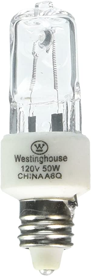 Westinghouse Lighting 0442300, 50W T4, E11 Mini-Can Base Clear 1300Hr 600LM 120V Halogen Light Bulb