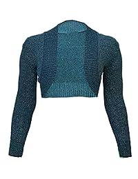 FASHION FAIRIES Women Long Sleeves Knitted Lurex Bolero Shrug