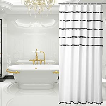 White Shower Curtain With Black Tassel Design Fabric Mildew Resistant 72 X Inch