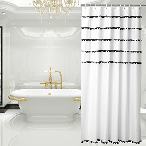 White Shower Curtain with Black Tassel Design, Fabric Shower Curtain Mildew Resistant, 72 x 72-Inch (Shower Tassel Curtain)