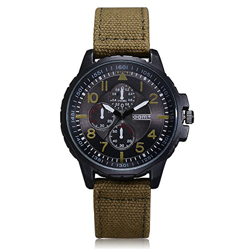 Men's Watch, Thing-ning Men's Quartz Movement Army Watch Six-pin dial,Perfect for Valentine's Day (Army Green)