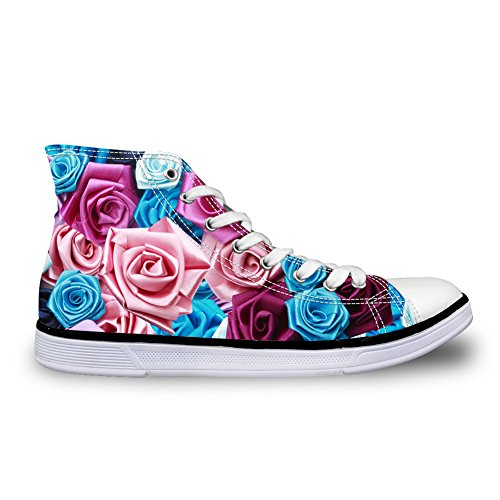Canvas Women Floral Sneakers for 7 High Top Floral HUGSIDEA Fashion Girls 4xOpnSw7