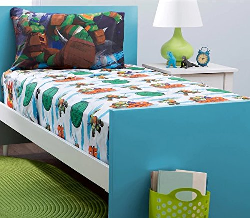 3 Piece Kids Teenage Mutant Ninja Turtles Sheet Twin Set, TMNT Bedding for Boys Girls Unisex, Michaelangelo Leonardo Raphael Donatello, Turtle Green Orange White Blue, Perfect for Movie Fans by OS