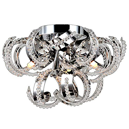 "Worldwide Lighting Medusa Collection 3 Light Chrome Finish Crystal Ribbon Flush Mount Ceiling Light 12"" D x 11"" H Small"