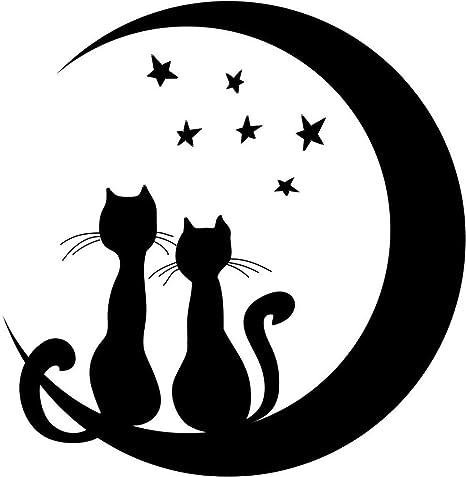 Amazon.com: Diseño con diseño de vinilo, 287 gato con luna y ...