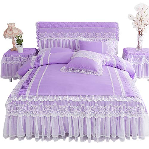 Lotus Karen Gardenia Girls Bedding Sets Romantic Lace Ruffled Princess Bed Set Sweet Korean Style Bedding for Girls (1Duvet Cover, 1Bedskirt, 2Pilowcases)