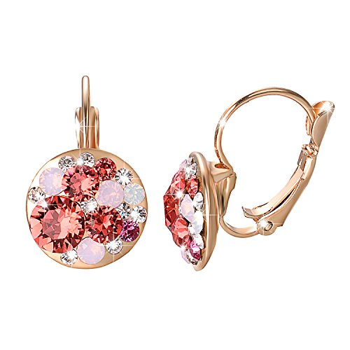 Yoursfs Colorful Rhinestone Leverback Earrings for Women Sparkly Red Cubic zirconia Earrings