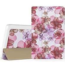 "MoKo Lenovo Tab3 A8 / Tab2 A8 Case, Ultra Compact Protection Slim Lightweight Smart Shell Stand Cover Case for Lenovo Tab 2 A8-50 8"" Tablet, Tab 3 8 (TB3-850F) 8-Inch Tablet 2016 Release, Floral Purple"