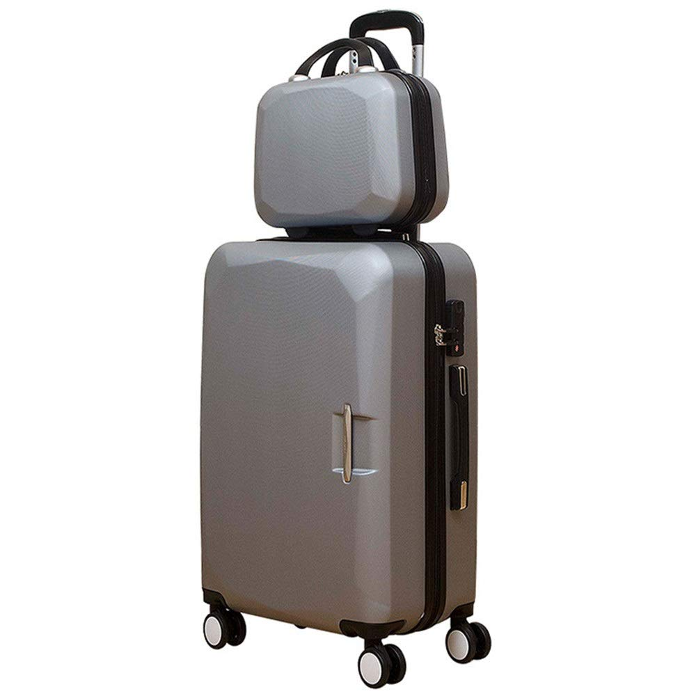 大容量スーツケース 20インチ14インチ/ 22インチ14インチ/ 24インチ14インチ軽量アップライトスーツケースハードシェル2ピースキャリーオンスピナー荷物セットTSAロック付きトラベル荷物360°サイレントスピナー多方向ホイールトロリーケース 軽量かつ低騒音 (色 : 銀, サイズ : 20in+14in) B07RBLV3W3 銀 20in+14in