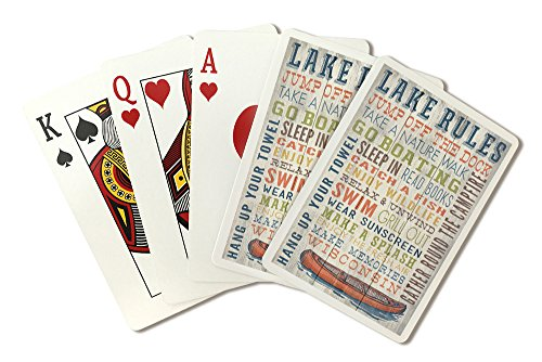 Wisconsin - Lake Rules - Rustic Typography (Playing Card Deck - 52 Card Poker Size with Jokers) by Lantern Press