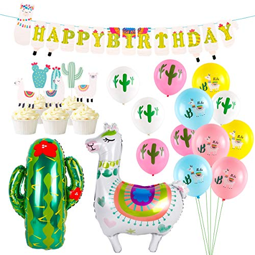 Llama Party Supplies, Birthday Party Decorations with Large Llama Cactus Foil Balloons, Latex Balloons, Cupcake Topper, Happy Birthday Banner for Baby Shower Home Decor