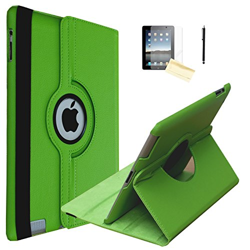 iPad 2 Case, iPad 3 Case, iPad 4 Case, JYtrend (R) Rotating Stand Smart Case Cover Magnetic Auto Wake Up/Sleep For iPad 2/3/4 A1395 A1396 A1397 A1403 A1416 A1430 A1458 A1459 A1460 (Green)