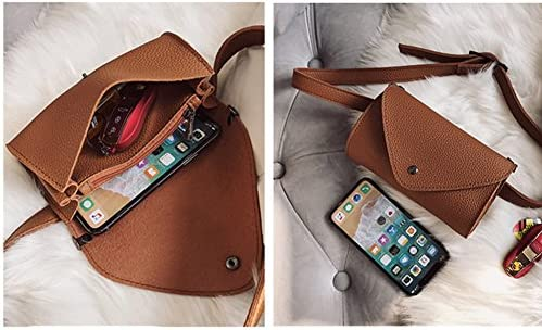 Womens Fashion Elegant Leather Brown Waist Fanny Pack Belt With Purse Pocket Stylish For Girls Women