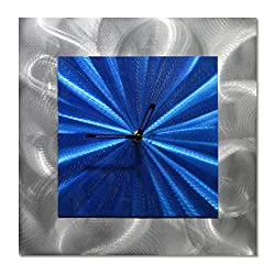 Square Clock Metal Wall Art - Blue Functioning Clock of 12 x 12 is the Perfect Abstract Wall Hangings for Patios