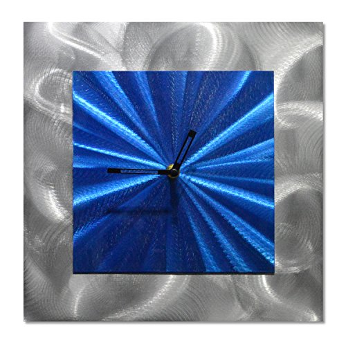 (Square Clock Metal Wall Art - Blue Functioning Clock of 12