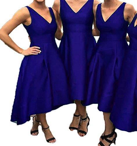 Party Satin Pockets Formal Dresses Lo Evening Blue Neck BessDress BD357 Bridesmaid V Dresses Royal With Hi 7REqz