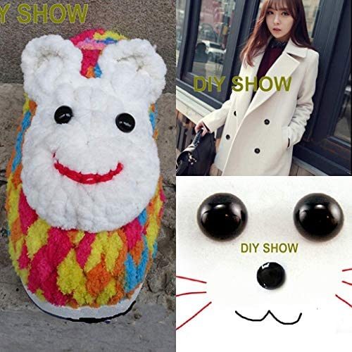 ZHONGJIUYUAN 20 Piece Large Black Plastic Button DIY Buttons Round Mushroom Domed Sewing Shank Eyeball Animal Ball Toy Eyes Accessories Decorative Button for Kids Cloth Accessories 30mm