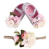Genenic Baby Girls Mary Jane Floral Crib Princess Shoes,Newborn Infant Prewalker with Elastic Headband