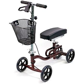 Karman Luxury Lightweight 4-Wheeled Knee Walker with Basket in Burgundy