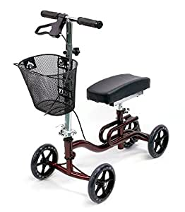 Karman Luxury Lightweight 4-Wheeled Knee Walker with Basket in Burgundy
