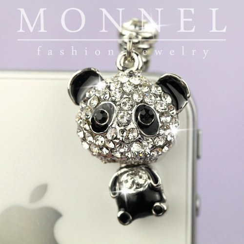 (IP499-B Cute Panda Crystal Dust Proof Phone Plug Cover Charm For Cell Phone)