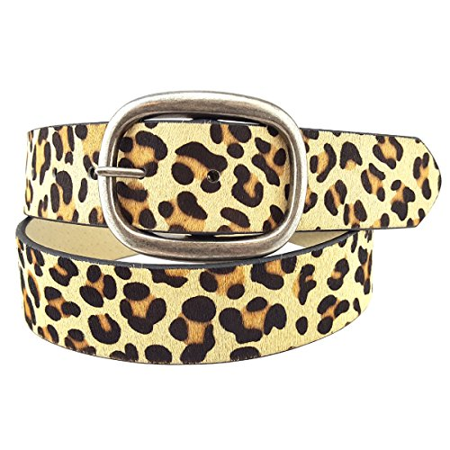 Belt in Light Tan Leopard Print in Large (Leather Print Belt)