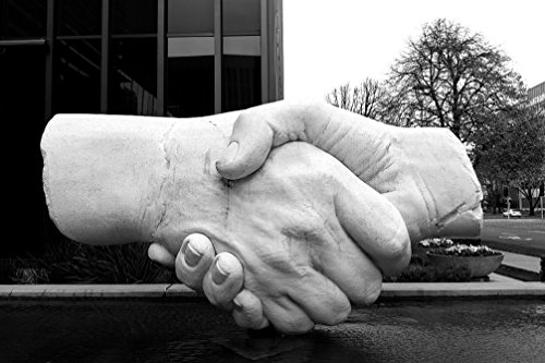 24 x 36 B&W Giclee Print of This sculpture of shaking hands near the Capitol Mall is one of Sacramento, California's, most popular pieces of outdoor art 2012 Highsmith - Mall Sacramento
