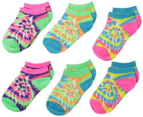 Jefferies Socks Little Girls' 6 Pair Pack Tie Dye Low Cut Socks, Neon Turquoise/Lime/Pink, Toddler ()