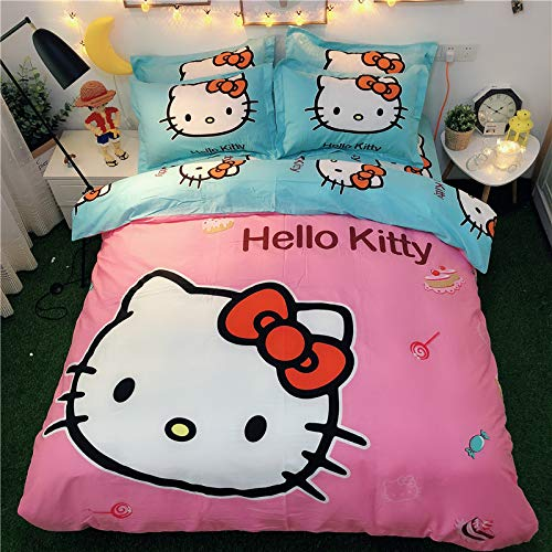 Casa 100% Cotton Kids Bedding Set Girls Hello Kitty Duvet Cover and Pillow case and Fitted Sheet,3 Pieces,Twin