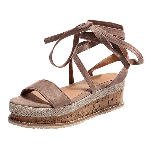 - 【MOHOLL】 Womens Open Toe Tie Lace Up Platform Wedges Sandals Ankle Strap Slingback Dress Shoes Brown