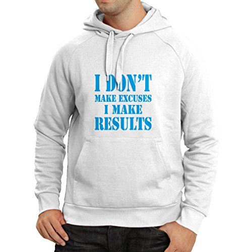 Hoodie .. I make results - lose weight fast quotes and muscle builder motivational sayings (XX-Large White Blue) - Gnc Collagen Powder
