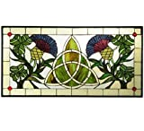 Meyda Tiffany 114591 Trinity Knot Stained Glass Window, 28'' Width x 14'' Height