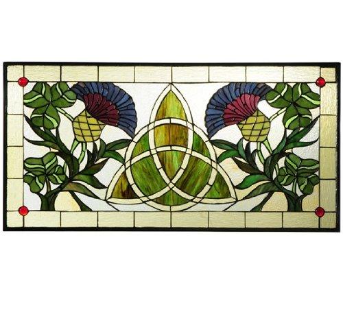 Meyda Tiffany 114591 Trinity Knot Stained Glass Window, 28'' Width x 14'' Height