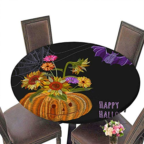 Solid Round Tablecloth,Illustration for Halloween Pumpkin Bouquet Autumn Flowers (Sunflower Gerbera d Table Cover up to 43.5