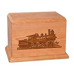 Wood Cremation Urn - Natural Cherry Train