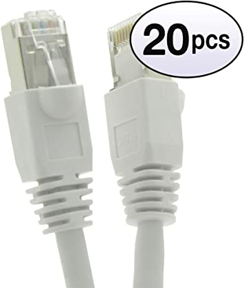 CABLECHOICE Cat6 Shielded Ethernet Cable Blue 550MHz 10 Gigabit//Sec High Speed LAN Internet//Patch Cable 24AWG Network Cable with Gold Plated RJ45 Molded//Booted Connector 3-Pack - 125 Feet
