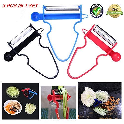 (Magic Trio Peeler,Set of 3 Use as Vegetable Peeler Potato Peeler Apple Peeler Julienne Peeler Orange Peeler Garlic Peeler (3))