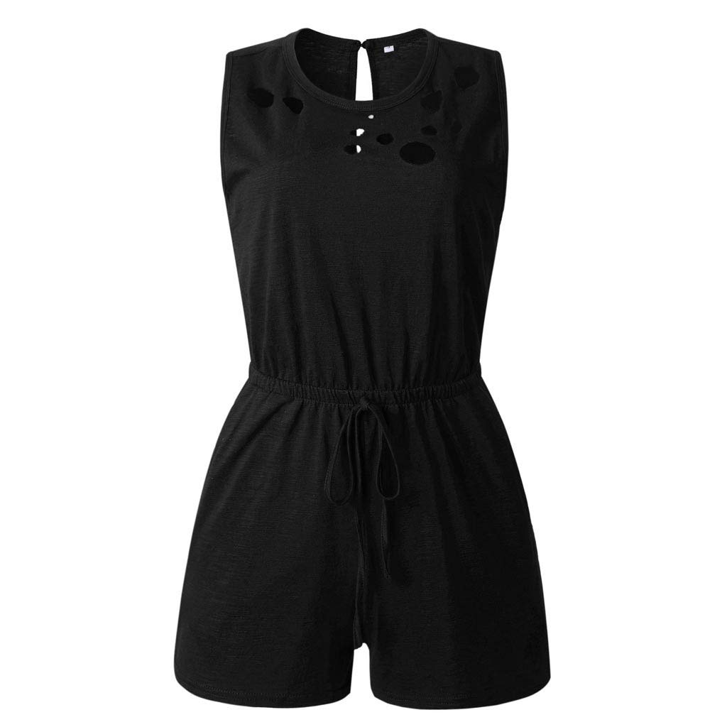 TOTOD Jumpsuits for Women, 2019 Lastest Summer O Neck Hole Sleeveless Pockets Rompers Drawstring Playsuit Black by TOTOD (Image #5)