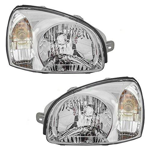 Headlights Headlamps Driver and Passenger Replacements for 01-03 Hyundai Santa Fe 92101-26050 92102-26050